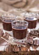 chocolate liqueur shots - stock photo