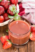 fresh made strawberry juice - stock photo