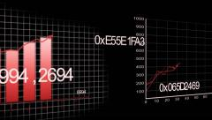 Growing charts animation on black Background - design in red Stock Footage
