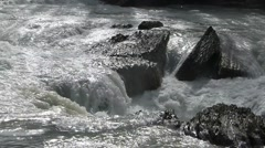 Mountain River Flowing Over Rocks in the Sun - stock footage