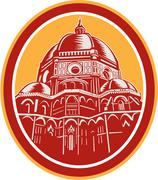 Dome of florence cathedral front woodcut Stock Illustration