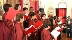 The Eilabun Church Choir performs in the Church of Eilabun - stock footage