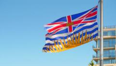 4K Video of British Columbia Flag, Province of BC, Canada Stock Footage