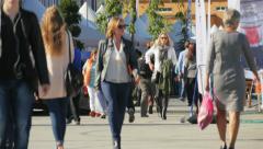 Crowd, pedestrians walking in Scandinavia. - stock footage
