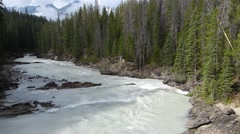Mountain River Flowing At Bend Stock Footage