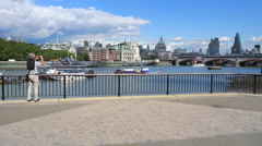 Stock Video Footage of Southbank at River Thames view to St. Pauls Cathedral