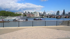 Stock Video Footage of The southbank at River Thames view to St. Pauls Cathedral