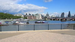 Stock Video Footage of The Thames River with view to St. Pauls Cathedral