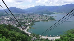 Aerial View Of Lake Kawaguchi And City From Mt. Kachikachi Sky Tram 4K Stock Footage