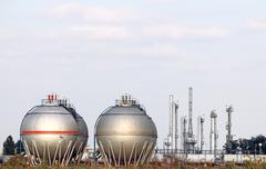 petrochemical plant with oil tanks - stock photo