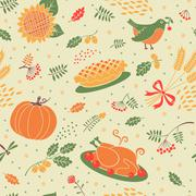 Seamless pattern with pumpkins, leaves, wheat and turkey. - stock illustration