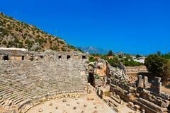 ancient amphitheater in myra, turkey - stock photo