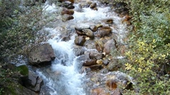 Mountain Stream Flowing Over Rocks Stock Footage