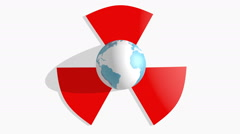 Earth globe rotated in nuclear danger sign Stock Footage