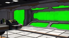 Scifi Spaceship Room - Video Background - Green Screen Stock Footage