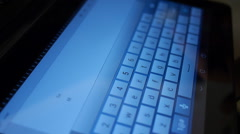 Hand typing email in ipad-tablet offer accepted Stock Footage