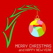 Christmas Message with Ornament - stock illustration