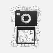 Drawing business formulas: photo - stock illustration