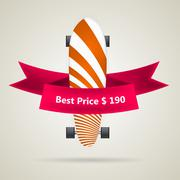 Ad layout for longboard with the best price. - stock illustration