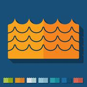 Flat design: wave - stock illustration
