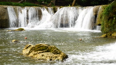 Waterfall in tropical forest, Saraburi of Thailand Stock Footage