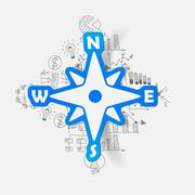Stock Illustration of Drawing business formulas: compass