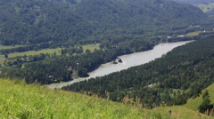 Panorama the river katun from mount bloody finger. altai krai. russia. Stock Footage