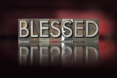 blessed letterpress - stock photo