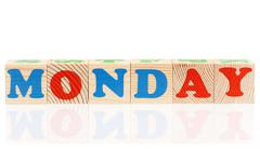 Cubes with weekday Stock Photos