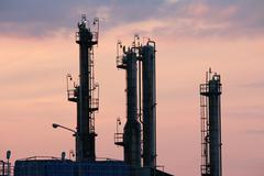 petrochemical plant industry zone twilight - stock photo