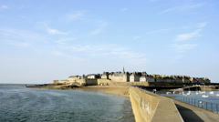 View over the walled city Saint-Malo from mole, Brittany, France Stock Footage