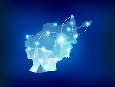 Afghanistan country map polygonal with spot lights places Stock Illustration