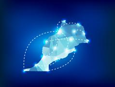 morocco country map polygonal with spot lights places - stock illustration