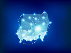 Sudan country map polygonal with spot lights places - stock illustration