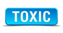 toxic blue 3d realistic square isolated button - stock illustration