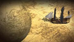 Vintage Rotating Globe And Map Of The World with old sailing ship - stock footage