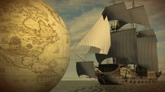 Vintage Rotating Globe  with old sailing ship - stock footage