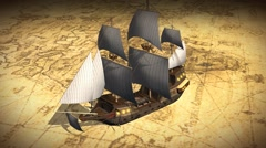 Vintage  Map Of The World with old sailing ship - stock footage
