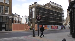 Charlotte Road London with buildings under scaffold Stock Footage