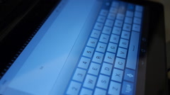 Hand typing email in ipad-tablet I quit Stock Footage
