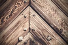 Wooden background, old gate of a castle, poland. Stock Photos