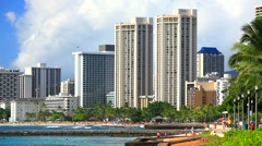 Waikiki Beach, Honolulu, Oahu island, Hawaii Stock Footage