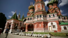 Pan view of St. Basil Cathedral. Stock Footage