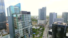 Aerial view Brickell Florida Stock Footage