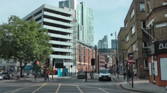 Great Eastern Street, London modern glass and old brick Stock Footage