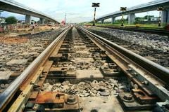 Rail ways junction and construction use for land transporat industry Stock Photos