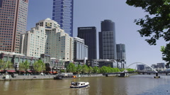 Yarra River and Buildings of the Melbourne Southgate Stock Footage