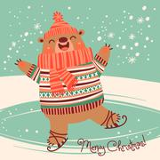 Christmas card with a pretty brown bear on an ice rink. - stock illustration