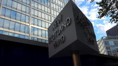 Rotating sign of New Scotland Yard Stock Footage
