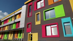 New building with many-coloured windows Stock Footage